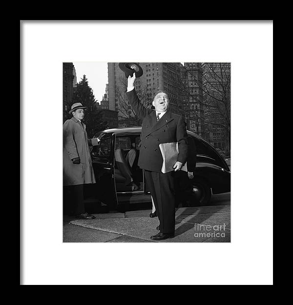The End Framed Print featuring the photograph New York Mayor Fiorello Laguardia Waving by Bettmann