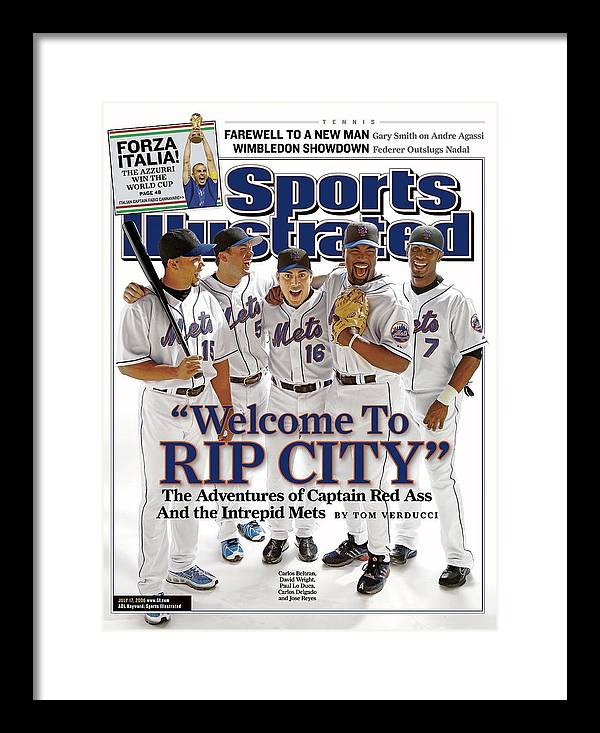 Magazine Cover Framed Print featuring the photograph New York Mets Carlos Beltran, David Wright, Paul Lo Duca Sports Illustrated Cover by Sports Illustrated