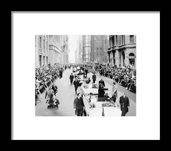 American League Baseball Framed Print featuring the photograph New York Mets Ride Up Lower Broadway by New York Daily News Archive
