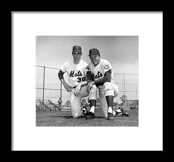 American League Baseball Framed Print featuring the photograph New York Mets Texas Battery Nolan Ryan by New York Daily News Archive