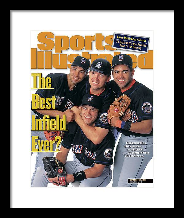 Robin Ventura Framed Print featuring the photograph New York Mets The Best Infield Ever Sports Illustrated Cover by Sports Illustrated