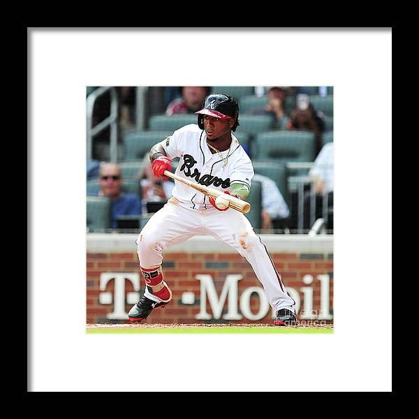 Atlanta Framed Print featuring the photograph New York Mets V Atlanta Braves - Game by Scott Cunningham