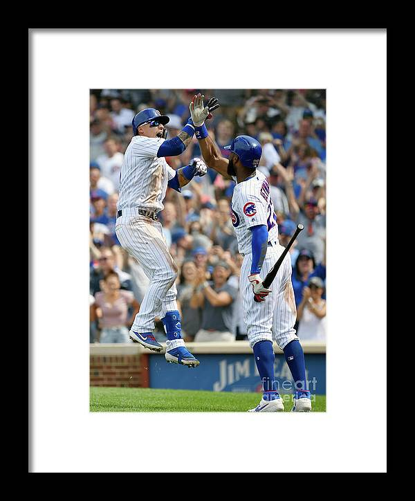 People Framed Print featuring the photograph New York Mets V Chicago Cubs by Quinn Harris