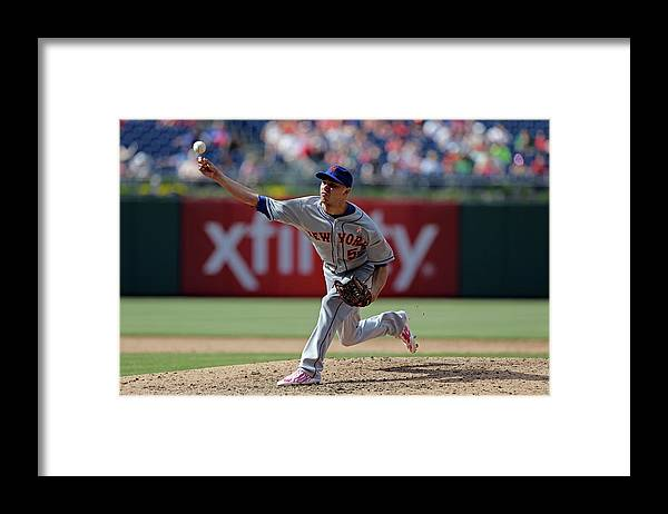 American League Baseball Framed Print featuring the photograph New York Mets V Philadelphia Phillies by Hunter Martin
