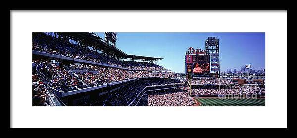 Panoramic Framed Print featuring the photograph New York Mets V Philadelphia Phillies by Jerry Driendl
