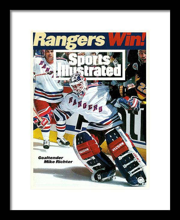 Mike Richter Framed Print featuring the photograph New York Rangers Goalie Mike Richter, 1994 Nhl Stanley Cup Sports Illustrated Cover by Sports Illustrated