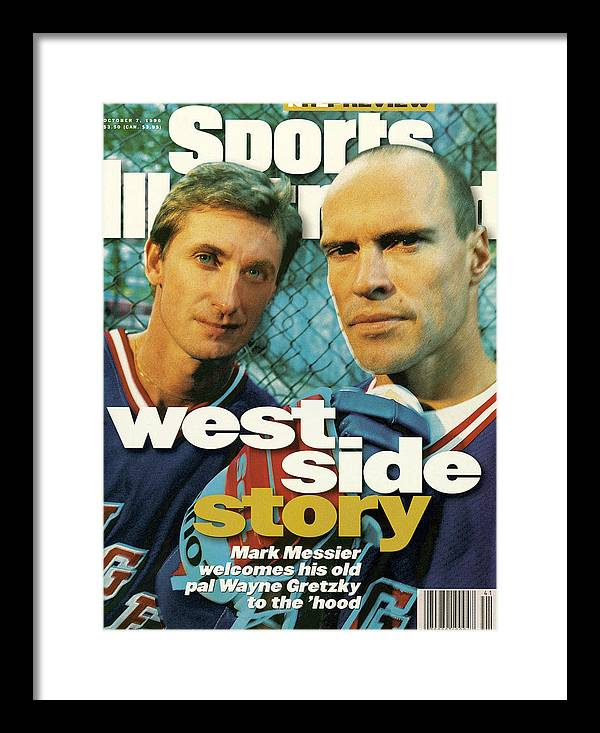 Magazine Cover Framed Print featuring the photograph New York Rangers Mark Messier And Wayne Gretzky Sports Illustrated Cover by Sports Illustrated