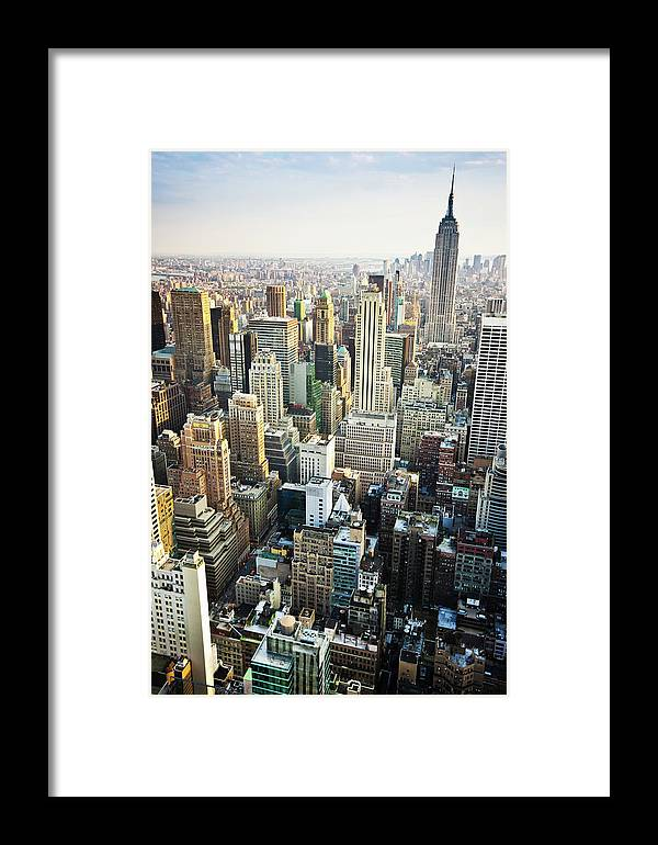Viewpoint Framed Print featuring the photograph New York Skyline Summertime View by Mlenny