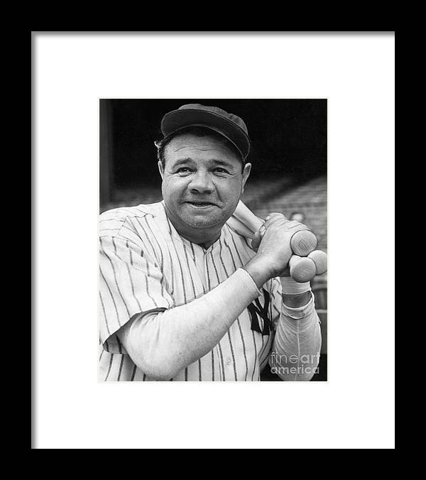 Charity Benefit Framed Print featuring the photograph New York Yankee Babe Ruth by Bettmann