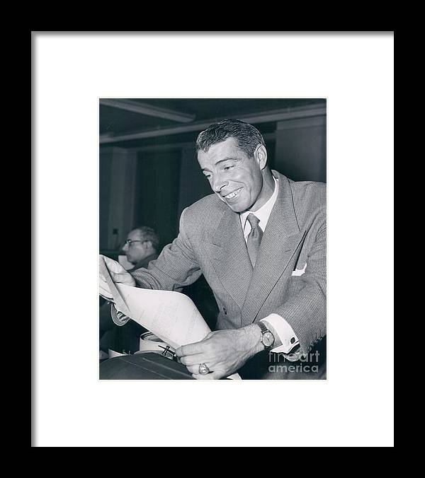 Three Quarter Length Framed Print featuring the photograph New York Yankee Joe Dimaggio by Sports Studio Photos