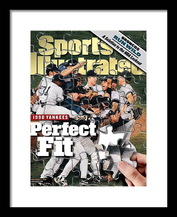 Magazine Cover Framed Print featuring the photograph New York Yankees, 1998 World Series Sports Illustrated Cover by Sports Illustrated