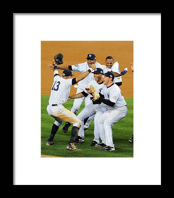 American League Baseball Framed Print featuring the photograph New York Yankees Celebrate 27th World by New York Daily News Archive
