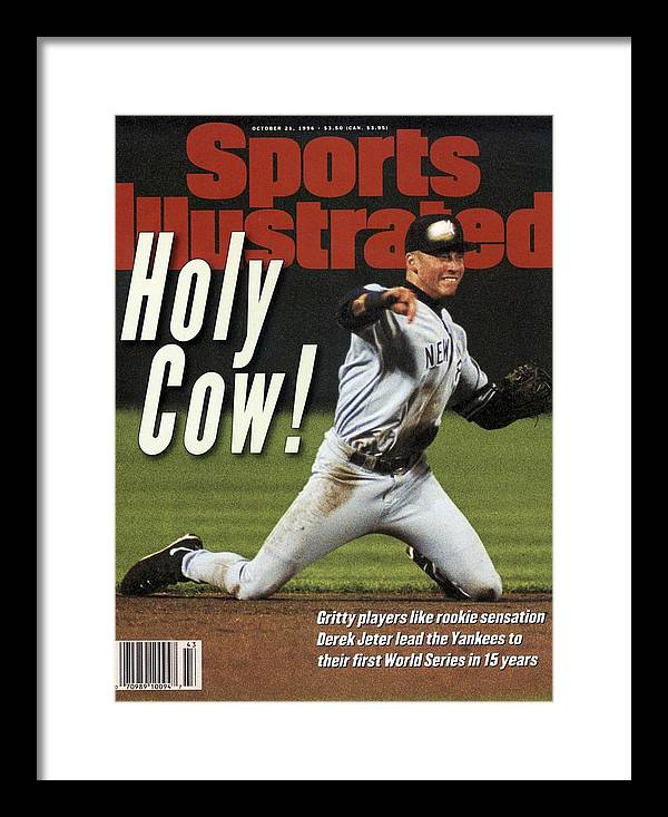 Magazine Cover Framed Print featuring the photograph New York Yankees Derek Jeter, 1996 Al Championship Series Sports Illustrated Cover by Sports Illustrated