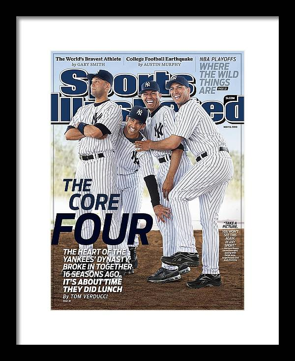 American League Baseball Framed Print featuring the photograph New York Yankees Derek Jeter, Jorge Posada, Mariano Rivera Sports Illustrated Cover by Sports Illustrated
