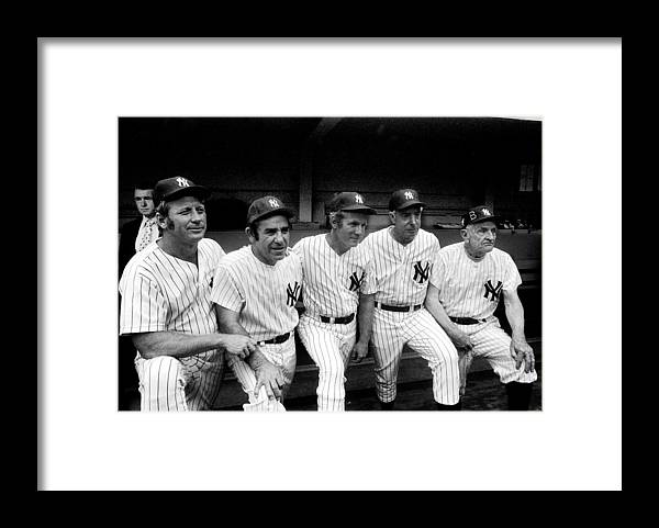 American League Baseball Framed Print featuring the photograph New York Yankees Hall Of Famers At Old by New York Daily News Archive