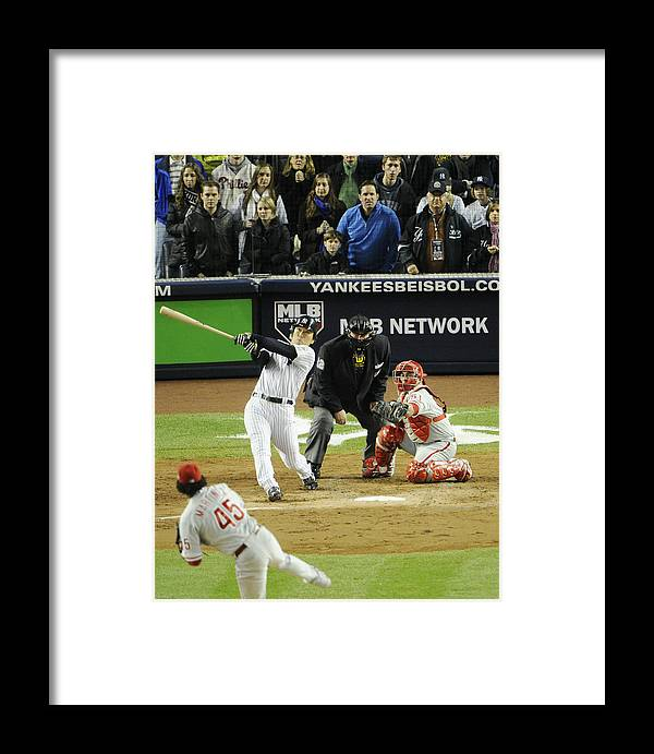 American League Baseball Framed Print featuring the photograph New York Yankees Hideki Matsui Hits by New York Daily News Archive