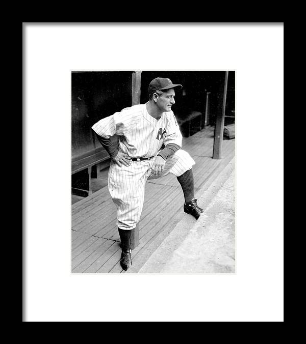 People Framed Print featuring the photograph New York Yankees Lou Gehrig by New York Daily News Archive
