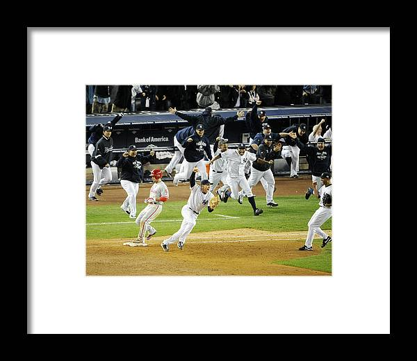 American League Baseball Framed Print featuring the photograph New York Yankees Mark Teixeira Makes by New York Daily News Archive