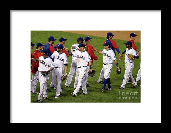 Playoffs Framed Print featuring the photograph New York Yankees V Texas Rangers, Game 2 by Ronald Martinez