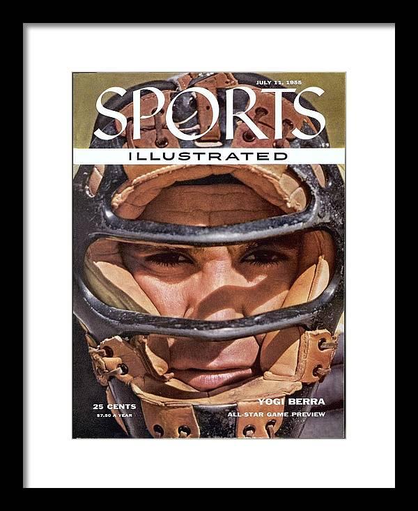 Magazine Cover Framed Print featuring the photograph New York Yankees Yogi Berra Sports Illustrated Cover by Sports Illustrated