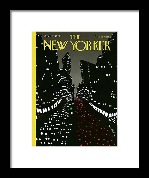 Toyo San Tsa Framed Print featuring the painting New Yorker April 2 1927 by Matias Santoyo