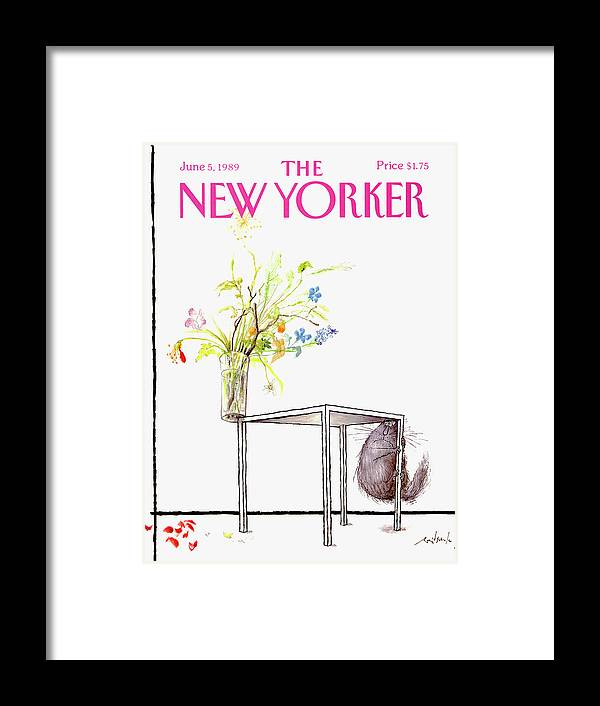 Animal Framed Print featuring the drawing New Yorker Cover June 5 1989 by Ronald Searle