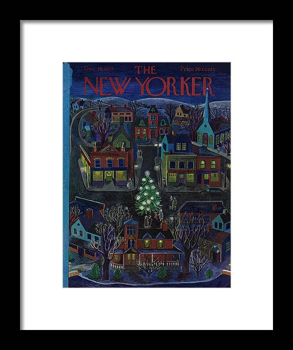 Suburb Framed Print featuring the painting New Yorker December 15, 1951 by Ilonka Karasz