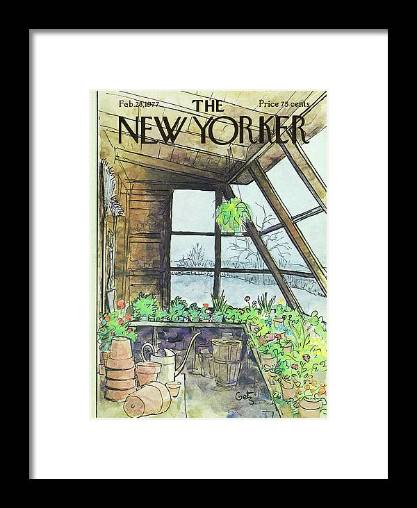 Illustration Framed Print featuring the painting New Yorker February 28th 1977 by Arthur Getz