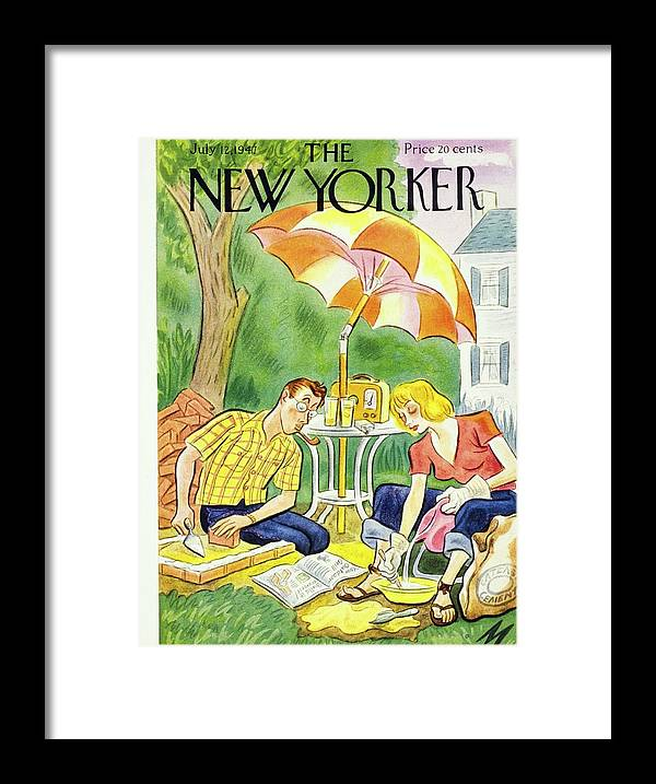 Illustration Framed Print featuring the painting New Yorker July 12th 1947 by Julian De Miskey