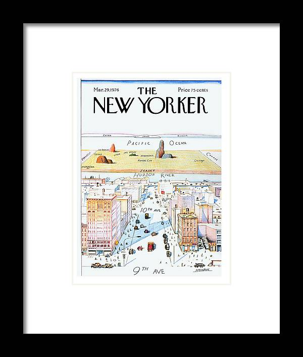 #condenastnewyorkercover Framed Print featuring the painting New Yorker March 29, 1976 by Saul Steinberg