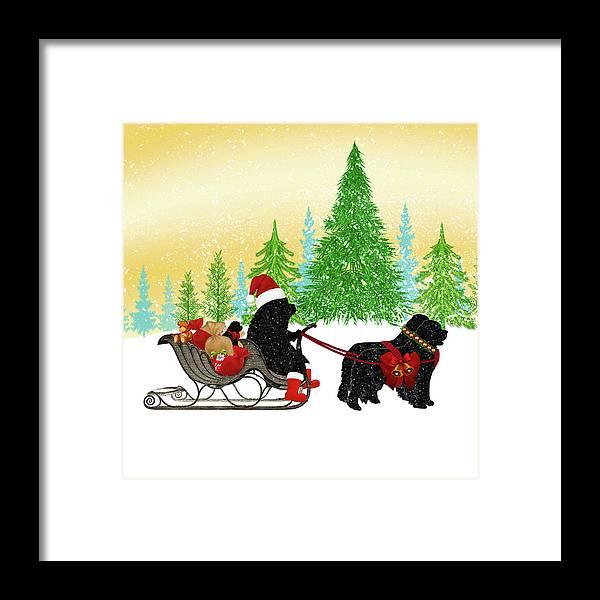 Newf Framed Print featuring the digital art Newfoundland Dog Christmas by Christine Mullis