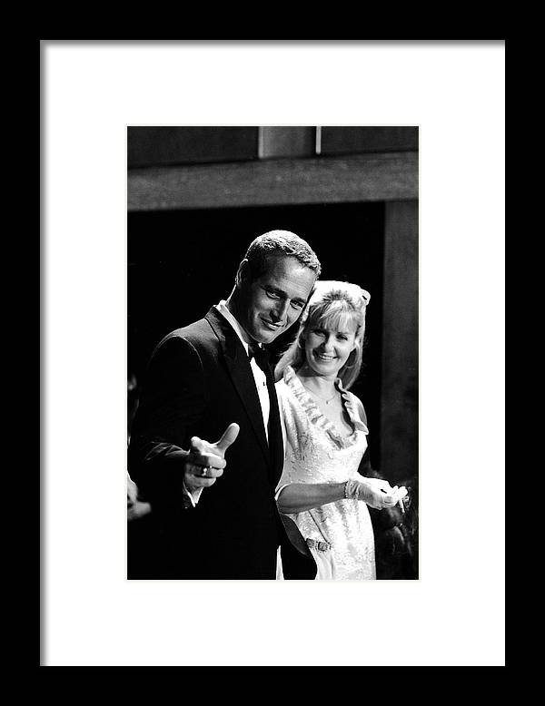 Event Framed Print featuring the photograph Newman & Woodward Attend Formal Event by Mark Kauffman