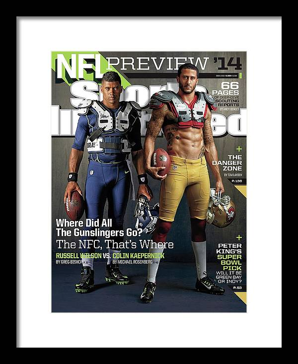 Magazine Cover Framed Print featuring the photograph Nfc Gunslingers 2014 Nfl Football Preview Issue Sports Illustrated Cover by Sports Illustrated