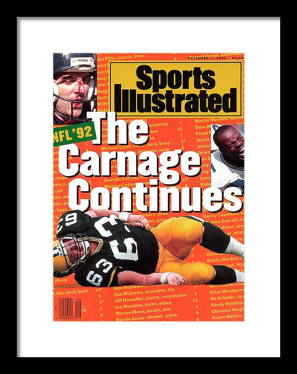 Magazine Cover Framed Print featuring the photograph Nfl Football The Carnage Continues Sports Illustrated Cover by Sports Illustrated