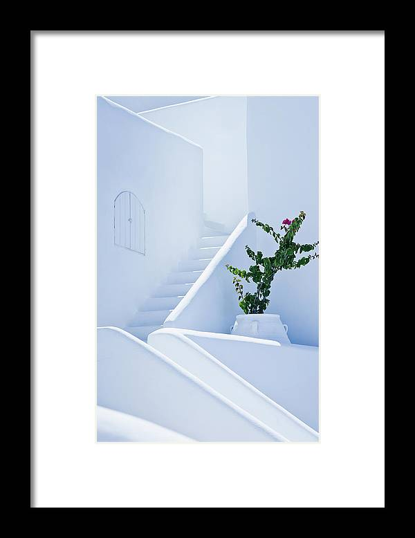 Steps Framed Print featuring the photograph Nice White Stairs In Oia Village by Mbbirdy
