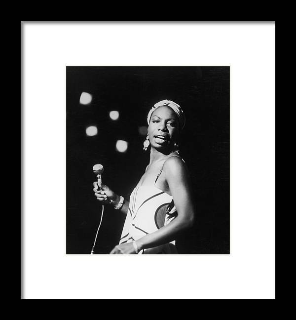 Nina Simone Framed Print featuring the photograph Nina In Concert by Hulton Archive