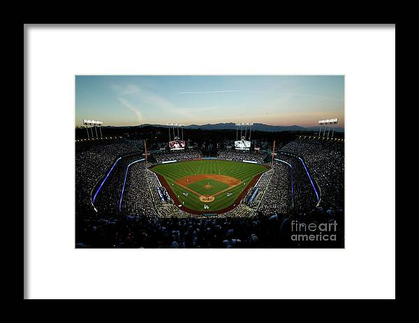 American League Baseball Framed Print featuring the photograph Nlcs - Chicago Cubs V Los Angeles by Josh Lefkowitz