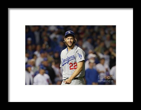 Game Two Framed Print featuring the photograph Nlcs - Los Angeles Dodgers V Chicago by Jamie Squire