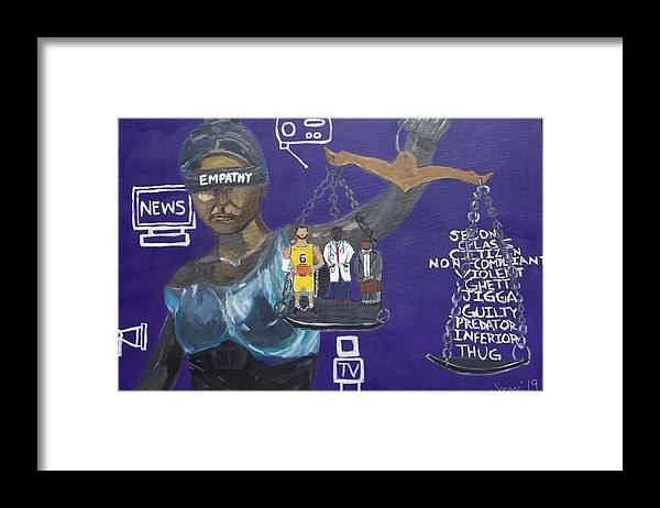 Inequality Framed Print featuring the painting No Empathy by Sonye Locksmith