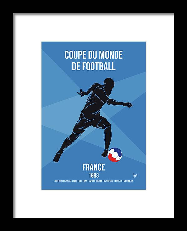 World Framed Print featuring the digital art No16 My 1998 France Soccer World Cup Poster by Chungkong Art