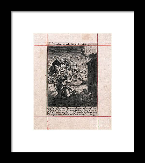 Engraving Framed Print featuring the drawing Noahs Ark - The Animals Going In Two by Print Collector