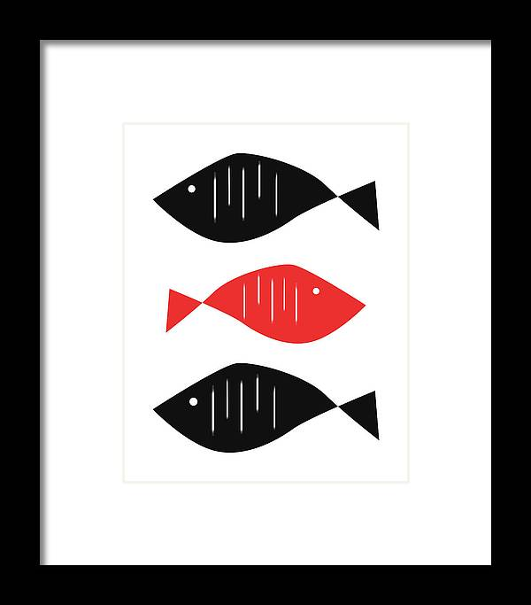 Scandinavian Framed Print featuring the digital art Nordic Fish by Pati Photography