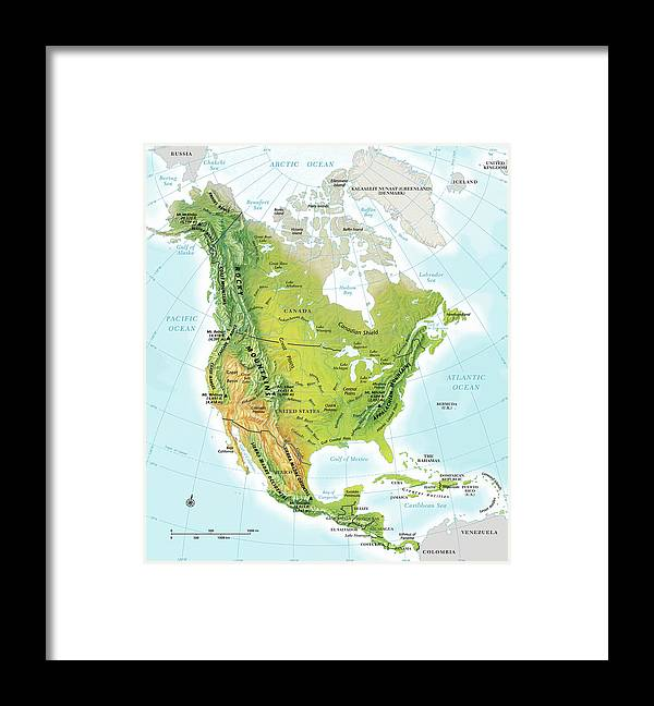 Compass Rose Framed Print featuring the digital art North America Continent Map, Relief by Globe Turner, Llc