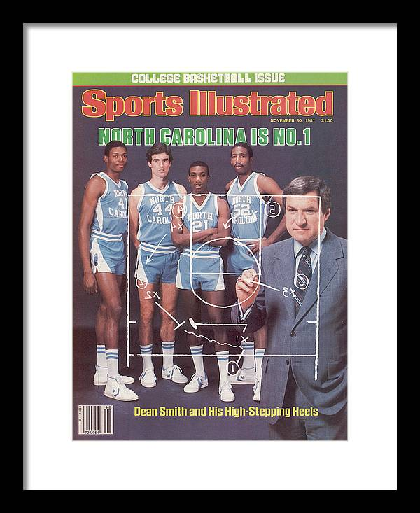 1980-1989 Framed Print featuring the photograph North Carolina Coach Dean Smith And Team Sports Illustrated Cover by Sports Illustrated