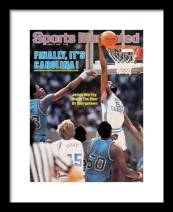 Magazine Cover Framed Print featuring the photograph North Carolina James Worthy, 1982 Ncaa National Championship Sports Illustrated Cover by Sports Illustrated