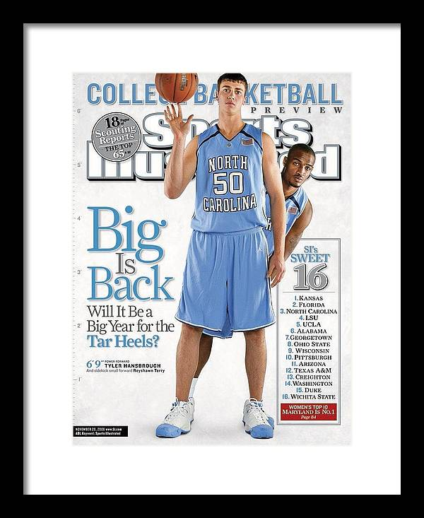 North Carolina Framed Print featuring the photograph North Carolina Tyler Hansbrough And Reyshawn Terry Sports Illustrated Cover by Sports Illustrated
