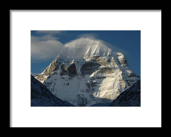 Chinese Culture Framed Print featuring the photograph North Face Of Mount Kailash Gang by Tcp