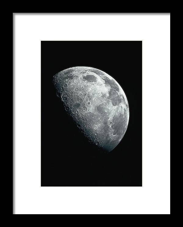 Clear Sky Framed Print featuring the photograph North Pole Of The Earths Moon by Stocktrek