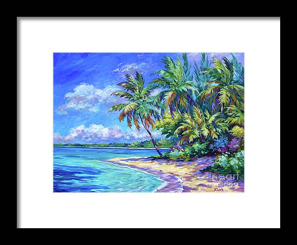 Art Framed Print featuring the painting North Side Palms by John Clark
