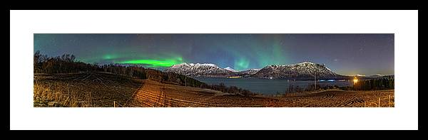 Backgrounds Framed Print featuring the photograph Northern Lights Over Grytoya by Kai Mueller